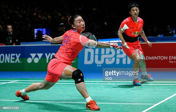 Yu Yang and Wang Xiaoli of China in action during Women's Doubles match against Chang Ye Na and Jung Kyung Eun of South Korea on day two of YONEX All...
