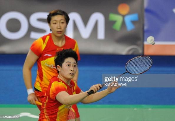 Yu Yang and Wang Xiaoli of China play a shot during their women's doubles badminton match against Kim Ha Na and Jung Kyung Eun of South Korea during...