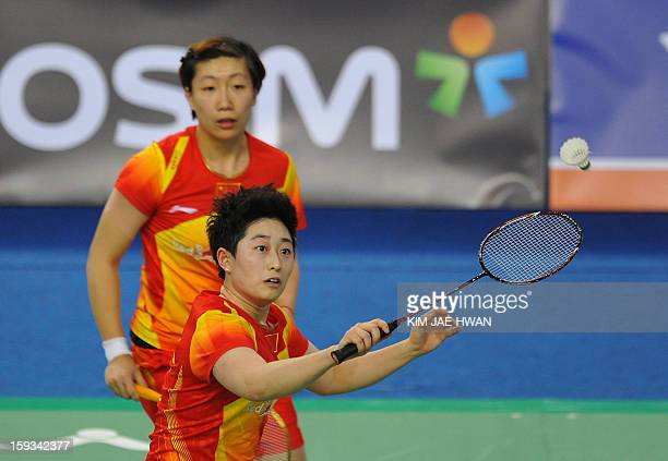 Yu Yang and Wang Xiaoli of China play a shot during their women's doubles badminton match against Kim Ha Na and Jung Kyung Eun of South Korea during...