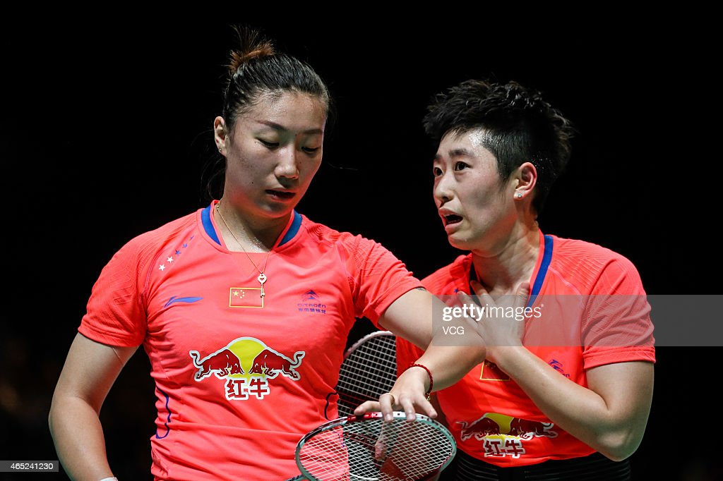 Yu Yang and Wang Xiaoli of China react during Women's Doubles match against Chang Ye Na and Jung Kyung Eun of South Korea on day two of YONEX All...