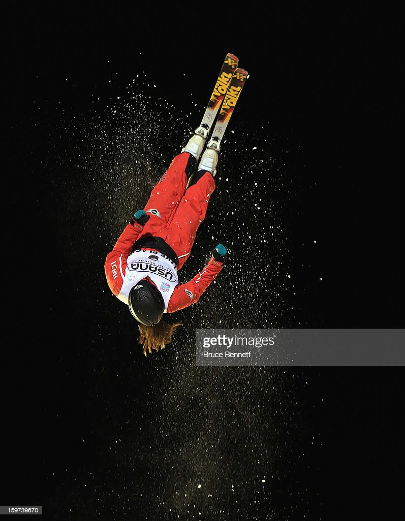 Yu Yang #3 of China jumps in the USANA Freestyle World Cup aerial competition at the Lake Placid Olympic Jumping Complex on January 19, 2013 in Lake Placid, New York.