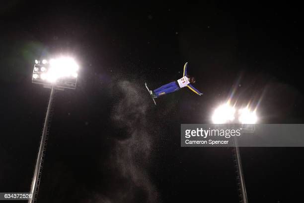 Yu Yang of China performs an aerial during Aerials training prior to the FIS Freestyle World Cup at Bokwang Snow Park on February 9 2017 in...