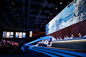 Yu Zaiqing Vice president of the China Olympics Council delivers a speech during Beijing's 2022 Olympic Winter Games bid presentation at the 128th...