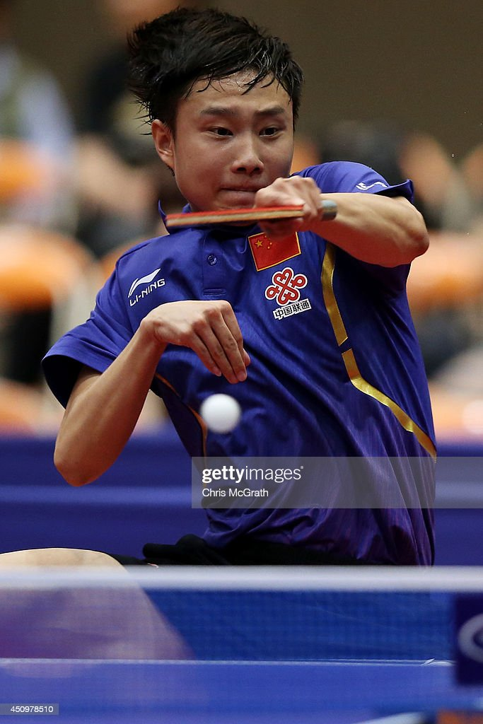 Yu Ziyang of China returns a shot against Chiang Hung-Chieh of Taipei during their Men's Singles Quarter final match on day two of 2014 ITTF World Tour Japan Open at Yokohama Cultural Gymnasium on June 21, 2014 in Yokohama, Japan.