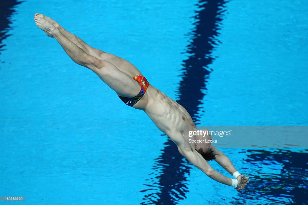 Yuan Cao of China competes in the Men's 3m Springboard Diving Final on day seven of the 16th FINA World Championships at the Aquatics Palace on July 31, 2015 in Kazan, Russia.