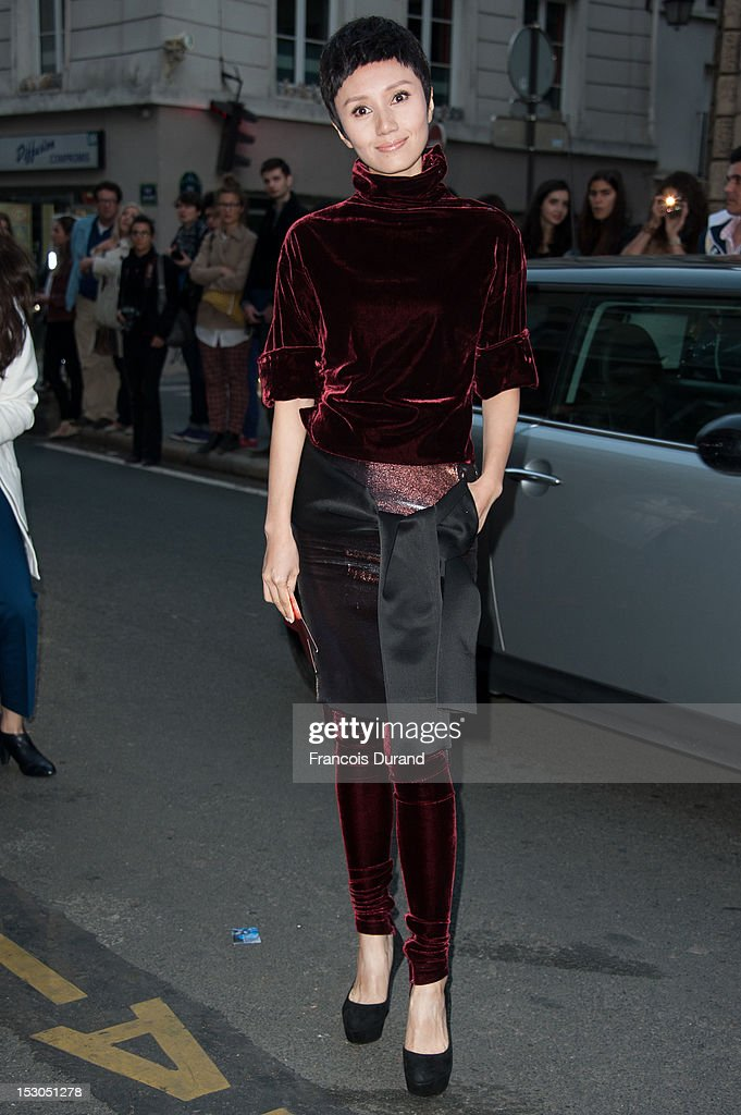 Yuan Quan arrives at the Jean-Paul Gaultier Spring / Summer 2013 show as part of Paris Fashion Week on September 29, 2012 in Paris, France.