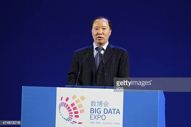 Yuan Renguo chairman of Kweichou Moutai Group speaks during the opening ceremony of 2015 Guiyang International Big Data Expo at Guiyang International...