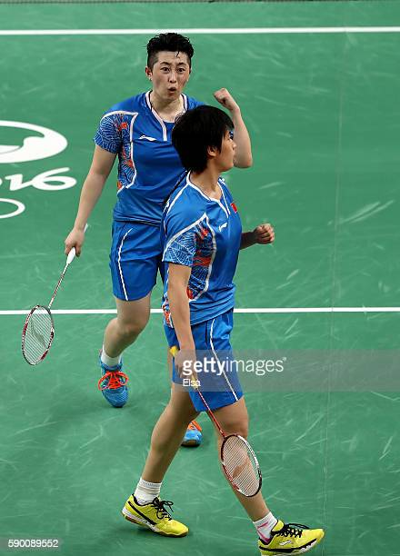 Yuanting Tang and Yang Yu of China celebrate a point win over Christinna Pedersen and Kamilla Juhl Rytter of Denmark during the Women's Doubles...