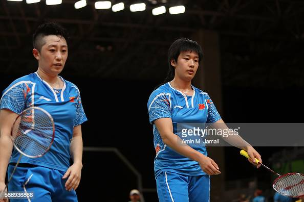 Yuanting Tang and Yang Yu of China compete against Stoeva and Stefani Stoeva of Bulgaria in the badminton Women's Doubles Group Play Stage Group D on...