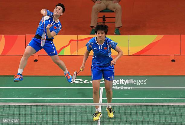 Yuanting Tang and Yang Yu of China play a Womens Doubles Quarterfinal match against Nitya Krishinda Maheswari and Greysia Polii of Indonesia on Day...