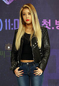 YuBin of Wonder Girls poses for photographs during the Mnet 'Unpretty Rapstar 2' press conference at Times Square on September 8 2015 in Seoul South...