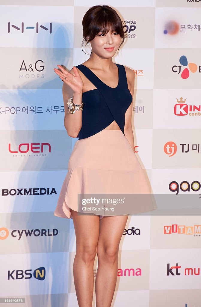Yu-Bin of Wondergirls poses for photographs upon arrival during '2nd Gaonchart K-pop Awards' at Olympic Hall on February 13, 2013 in Seoul, South Korea.