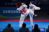 Yudy Perez of Colombia competes with Aline Dossou of France during a women's 62 kg combat of WTF World Taekwondo Championships 2013 at the...