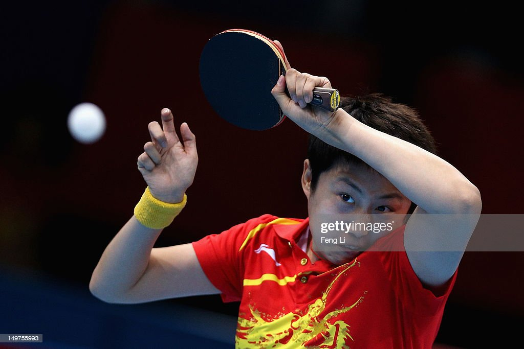 Yue Guo of China competes during Women's Team Table Tennis first round match against team of Spain on Day 7 of the London 2012 Olympic Games at ExCeL on August 3, 2012 in London, England.