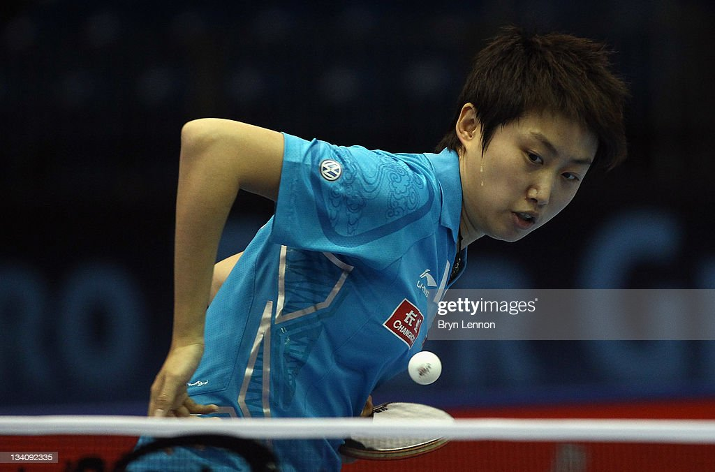 Yue Guo of China in action in the Women's Singles Quarter Final against Shiwen Liu of China during day two of the ITTF Pro Tour Table Tennis Grand Finals at the ExCel on November 24, 2011 in London, England.