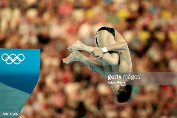 Yue Lin of China competes in the Men's 10m Platform Diving Semifinal on Day 15 of the London 2012 Olympic Games at the Aquatics Centre on August 11...