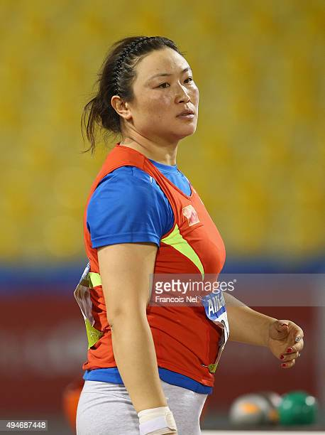 Yue Yang of China competes in the women's shot put F44 final during the Evening Session on Day Seven of the IPC Athletics World Championships at...