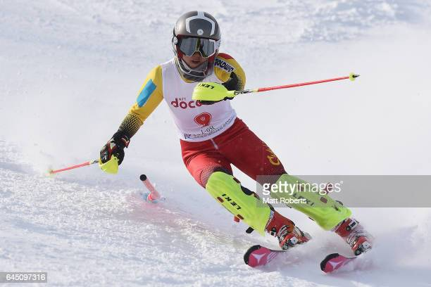 Yueming Ni of China competes in women's slalom alpine skiing on the day eight of the 2017 Sapporo Asian Winter Games at Sapporo Teine on February 25...