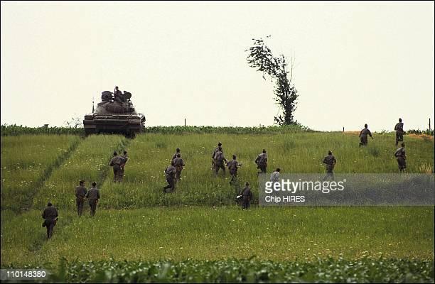 Yugoslav army at the border of Slovenia in Yugoslavia on July 03 1991