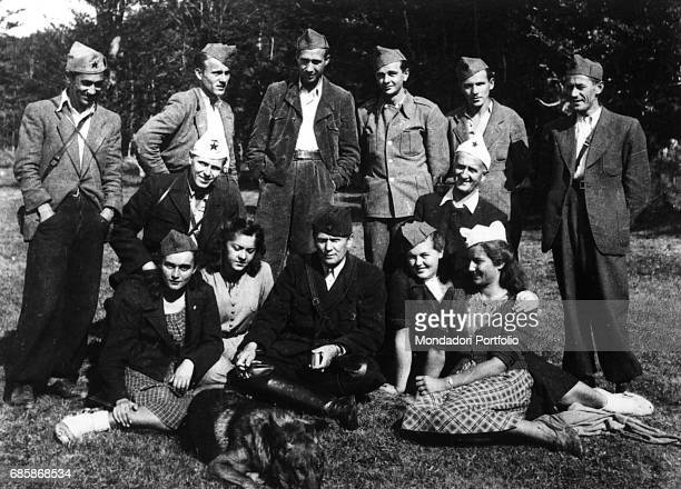 Yugoslav marshall and revolutionary Josip Broz Tito with Croatian actors members of the partisan groups on the Yugoslav front during World War II In...