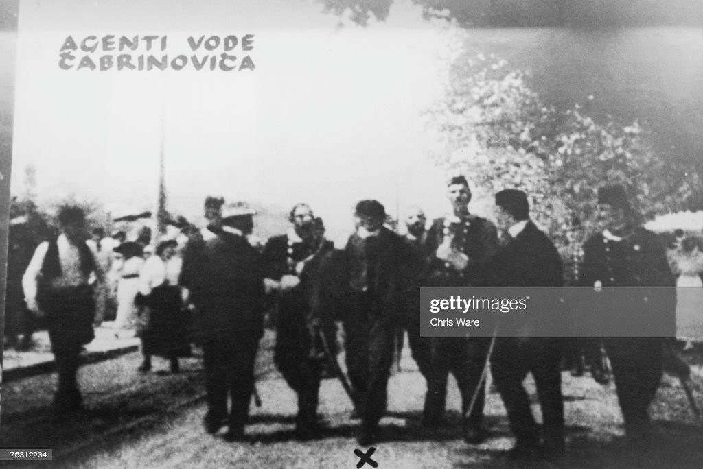 Yugoslav Nationalist Nedeljko Cabrinovic (1895 - 1916) is arrested in Sarajevo after attempting to assassinate Archduke Franz Ferdinand of Austria and his wife Sophie, 28th June 1914. The assassination was successfully carried out by fellow Black Hand member Gavrilo Princip later that same day.
