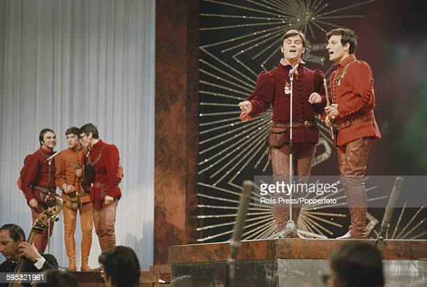 Yugoslavian group Dubrovacki trubaduri perform the song 'Jedan dan' on stage for Yugoslavia in the Eurovision Song Contest at the Royal Albert Hall...