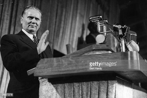 Yugoslavian President Marshal Tito speaking at the inaugural address to the fourth People's Front Congress in Belgrade in former Yugoslavia Original...