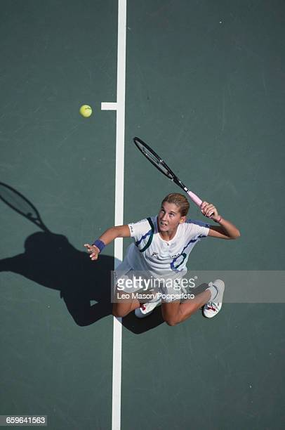 Yugoslavian tennis player Monica Seles pictured in action competing to reach the fourth round of the 1989 US Open Women's Singles tennis tournament...