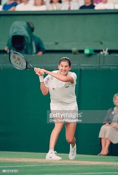 Yugoslavian tennis player Monica Seles pictured in action to lose her match against German tennis player Steffi Graf 26 16 in the final of the...