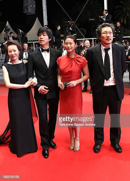 YuhJung Youn Joonsang Yu Jiwon Ye and Sangsoo Hong attend the 'Uncle Boonmee Who Can Recall His Past Lives' Premiere at the Palais des Festivals...