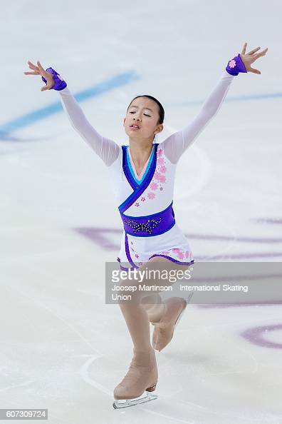 YuHsun Lin of Taipei competes during the Junior Ladies Free Skating on day three of the ISU Junior Grand Prix of Figure Skating on September 17 2016...