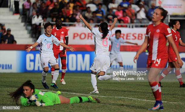 Yui Hasegawa of Japan celebrates her goal during the FIFA U20 Women's World Cup Papua New Guinea 2016 Group B match between Canada and Japan at the...