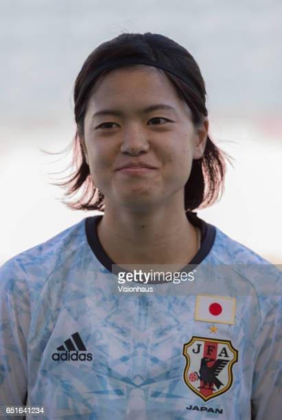 Yui Hasegawa of Japan during the Fifth Place 2017 Algarve Cup match between Japan and The Netherlands at the Estadio Algarve on March 08 2017 in Faro...