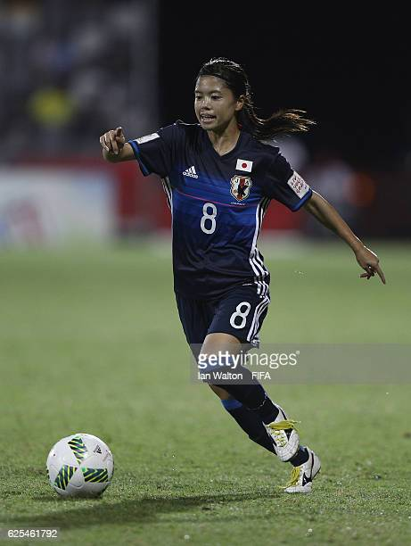 Yui Hasegawa of Japan in action during the FIFA U20 Women's World Cup Quarter Final match between Japan and Brazil at the National Footbal Stadium on...
