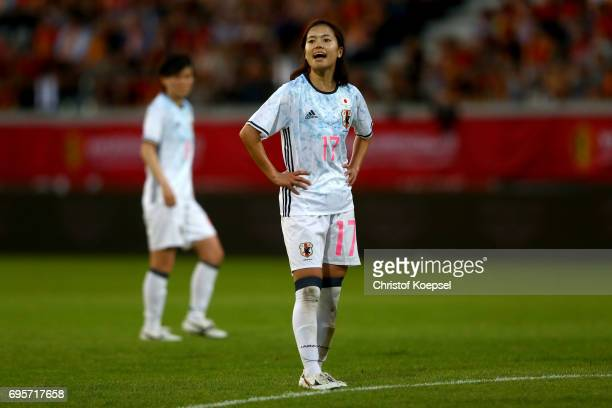 Yui Hasegawa of Japan is seen during the Women's International Friendly match between Belgium and Japan at Stadium Den Dreef on June 13 2017 in...