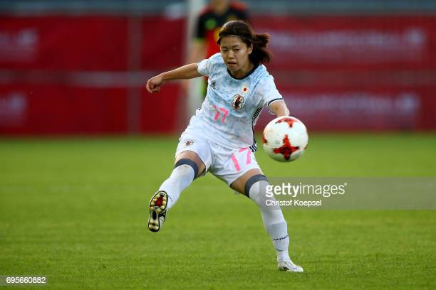 Yui Hasegawa of Japan shoots the ball during the Women's International Friendly match between Belgium and Japan at Stadium Den Dreef on June 13 2017...