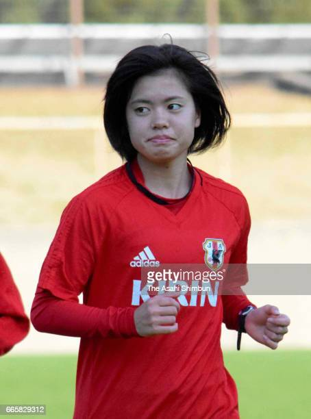 Yui Hasegawa of Japan warms up during a training session ahead of the international friendly against Costa Rica on April 3 2017 in Ozu Kumamoto Japan