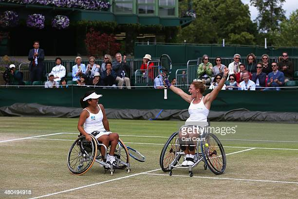 Yui Kamiji of Japan and Jordanne Whiley of Great Britain celebrate after winning the Wheelchair Ladies Doubles Final against Jiske Griffioen and...