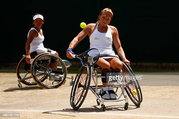 Yui Kamiji of Japan and Jordanne Whiley of Great Britain in action in the Wheelchair Ladies Doubles against Lousie Hunt of Great Britain and...