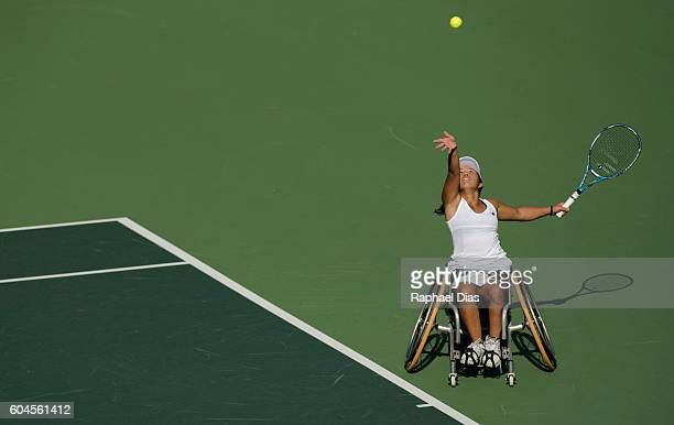 Yui Kamiji of Japan competes against Anniek Van Koot of Netherlands in the Wheelchair Tennis Womens Singles Semifinals on day 6 of the Rio 2016...