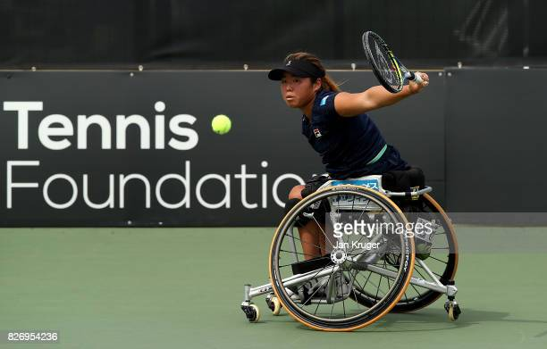 Yui Kamiji of Japan in action against Diede de Groot of Netherlands in the women's singles final during the British Open Wheelchair Tennis at The...