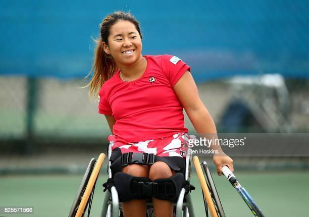Yui Kamiji of Japan in action during her match against Angelica Bernal of Columbia on day two of the British Open Wheelchair Tennis on August 2 2017...