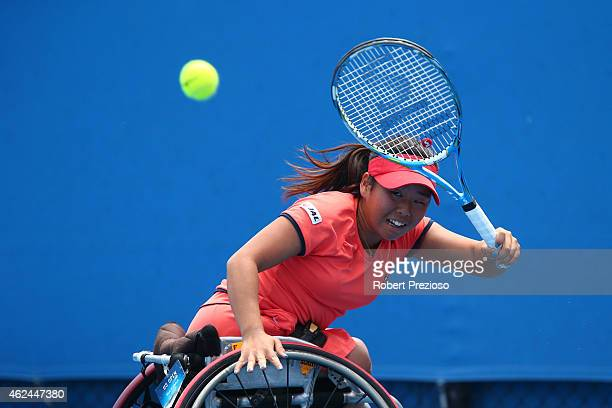 Yui Kamiji of Japan in action in her match against Sabine Ellerbrock of Germany in Women's Wheelchair Singles Semifinals during the Australian Open...