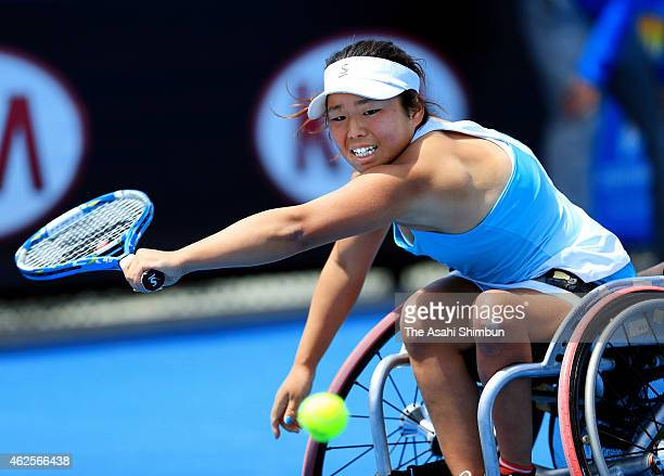 Yui Kamiji of Japan plays a backhand in her Women's Wheelchair Singles Final against Jiske Griffioen of the Netherlands during the Australian Open...