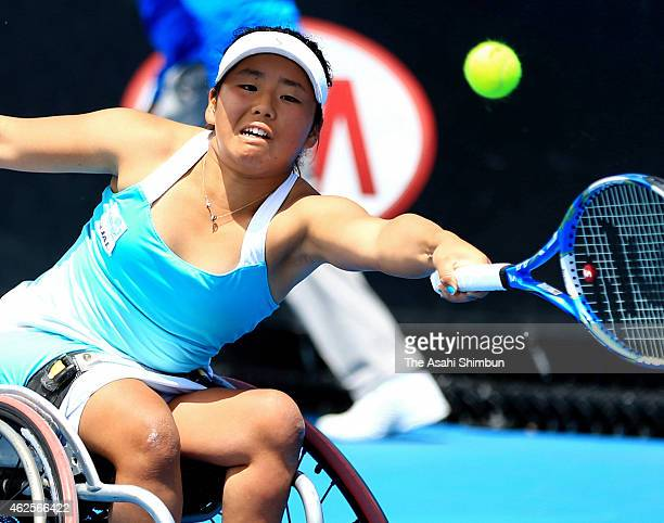 Yui Kamiji of Japan plays a forehand in her Women's Wheelchair Singles Final against Jiske Griffioen of the Netherlands during the Australian Open...