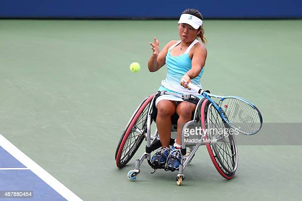 Yui Kamiji of Japan returns a shot in the first set against Jiske Griffioen of the Netherlands during their Women's Wheelchair Singles Semifinals...