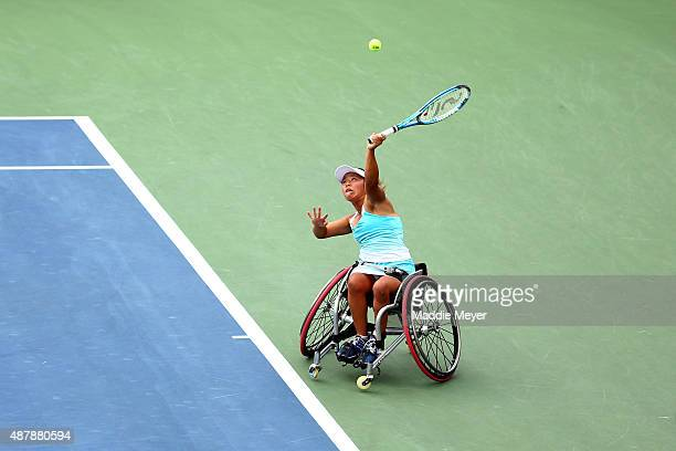 Yui Kamiji of Japan serves in the first set against Jiske Griffioen of the Netherlands during their Women's Wheelchair Singles Semifinals match on...