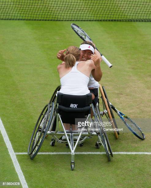 Yui Kamji and Jordanne Whiley celebrate their victory over Marjolein Buis Diede De Groot in the Final of the Ladies' Wheelchair Doubles at Wimbledon...