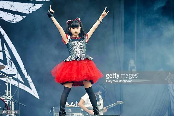 Yui Mizuno of BABYMETAL performs on stage at Sonisphere at Knebworth Park on July 5 2014 in Knebworth United Kingdom