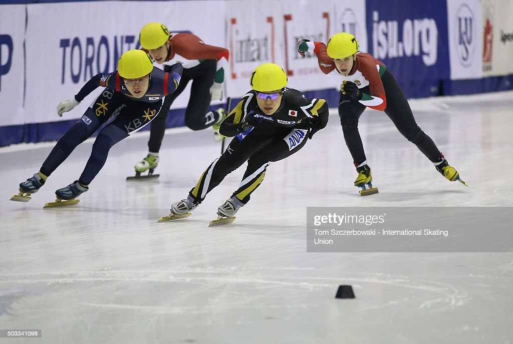 <a gi-track='captionPersonalityLinkClicked' href=/galleries/search?phrase=Yui+Sakai&family=editorial&specificpeople=6521438 ng-click='$event.stopPropagation()'>Yui Sakai</a> (C) of Japan competes against <a gi-track='captionPersonalityLinkClicked' href=/galleries/search?phrase=Alang+Kim&family=editorial&specificpeople=11622141 ng-click='$event.stopPropagation()'>Alang Kim</a> (L) of Korea and Sara Luca Bacskai (R) of Hungary on Day 1 of the ISU World Cup Short Track Speed Skating competition at MasterCard Centre on November 7, 2015 in Toronto, Ontario, Canada.